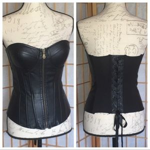 Tops - Say What Faux Leather Black Zip Corset Bustier S